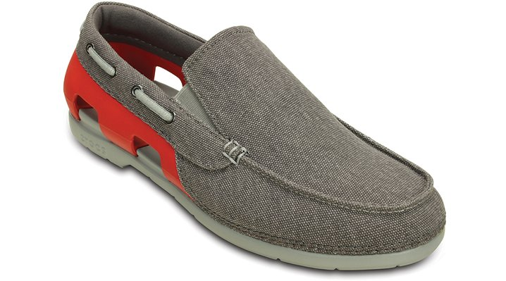 Crocs Graphite / Flame Men's Beach Line Canvas Slip-On Shoes