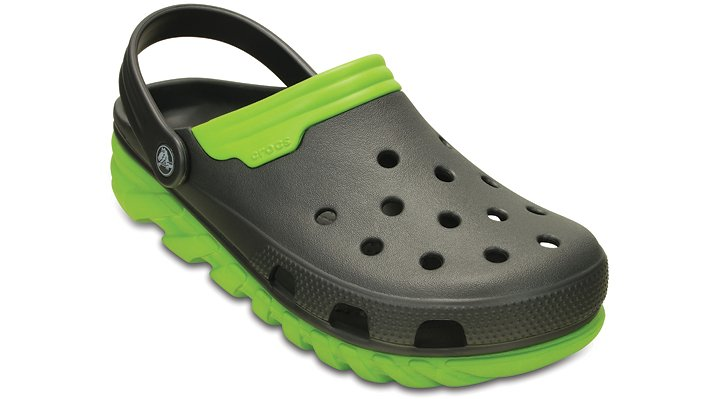 Crocs Graphite / Volt Green Duet Max Clog Shoes