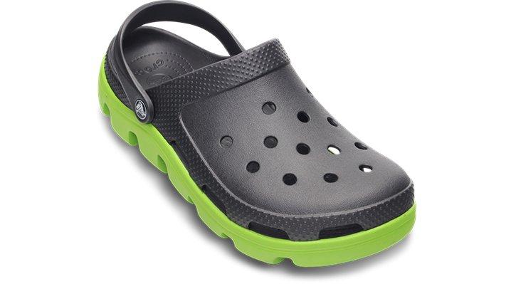 Crocs Graphite / Volt Green Duet Sport Clog Shoes