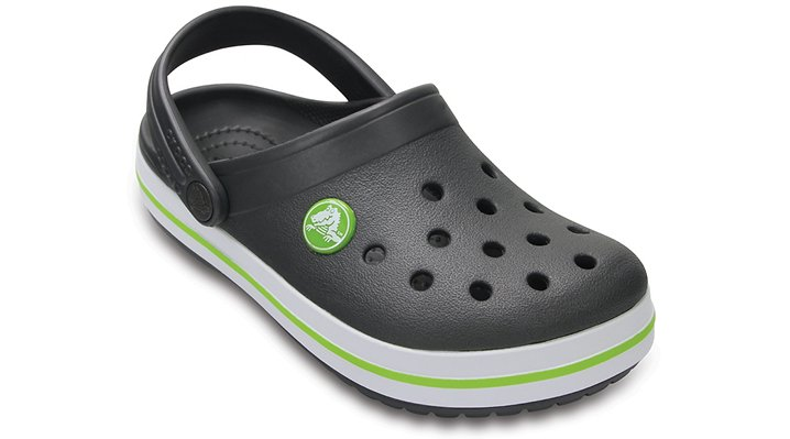 Crocs Graphite / Volt Green Kids' Crocband™ Clog Shoes