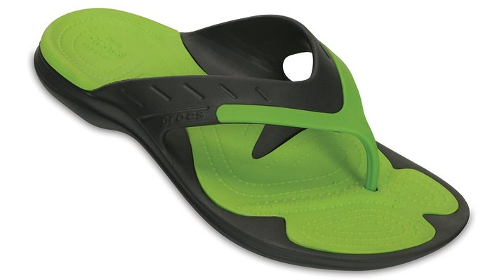 Crocs Graphite / Volt Green Modi Sport Flip Shoes