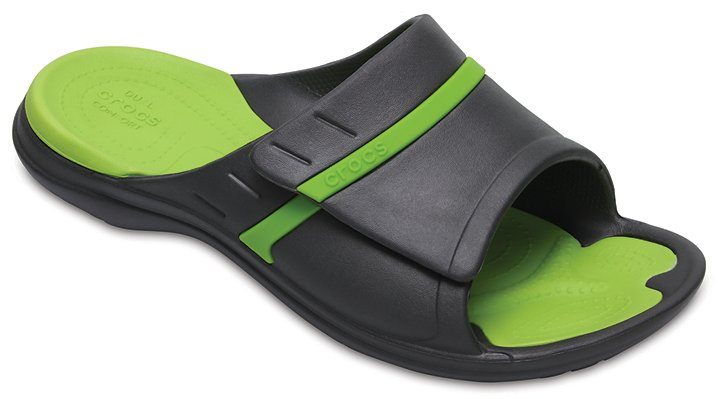Crocs Graphite / Volt Green Modi Sport Slides Shoes