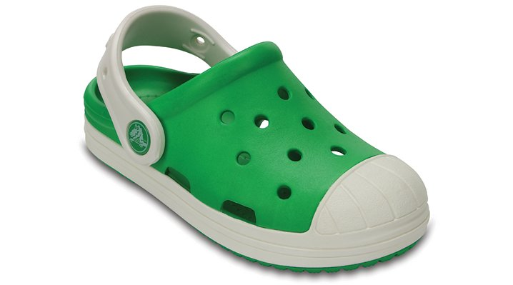 Crocs Grass Green / Oyster Kids' Crocs Bump It Clog Shoes