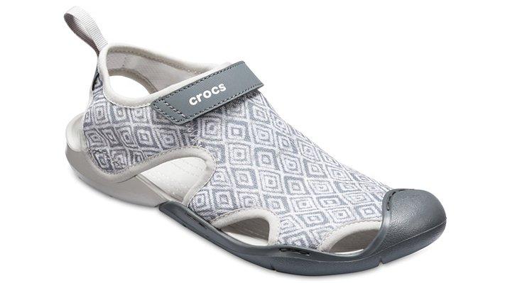 Crocs Grey Diamond Women's Swiftwater Graphic Mesh Sandals Shoes