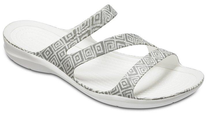 Crocs Grey Diamond/White Women's Swiftwater Graphic Sandal Shoes