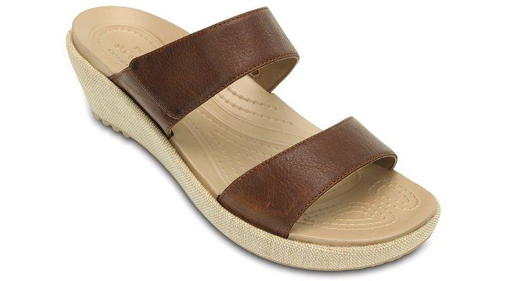 Crocs Hazelnut / Chai Women'S A-Leigh 2-Strap Mini Wedge Shoes