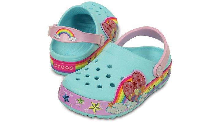 Crocs Ice Blue Kids' Crocslights Rainbow Heart Clog Shoes