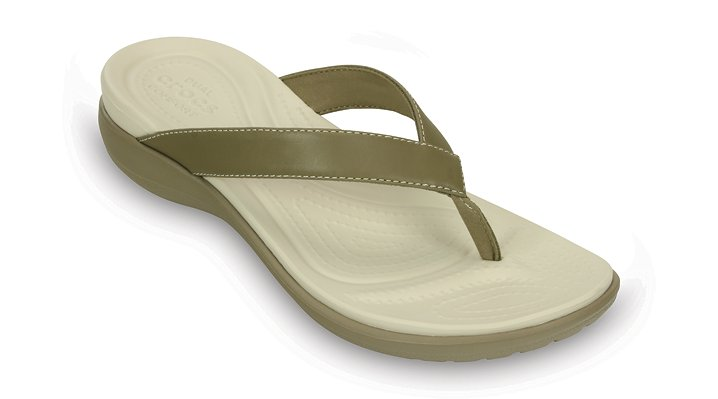 Crocs Khaki Women'S Capri V Flip Shoes