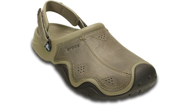 Crocs Khaki / Espresso Men'S Swiftwater Leather Clog Shoes