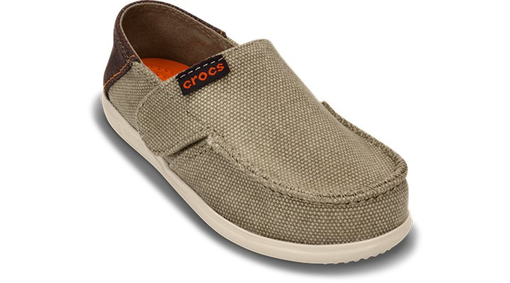 Crocs Khaki / Stucco Kids' Santa Cruz Canvas Loafer (Children'S) Shoes