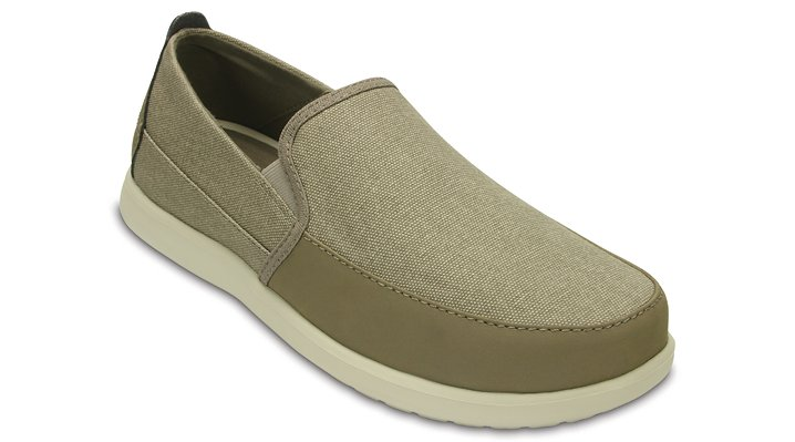 Crocs Khaki / Stucco Men's Santa Cruz Deluxe Slip-Ons Shoes