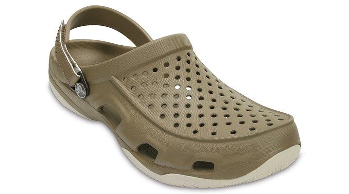 Crocs Khaki / Stucco Men's Swiftwater Deck Clog Shoes
