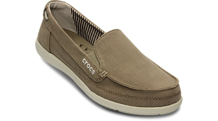 Crocs Khaki / Stucco Women'S Walu Canvas Loafer Shoes