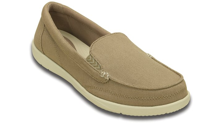Crocs Khaki / Stucco Women'S Walu Ii Canvas Loafer Shoes