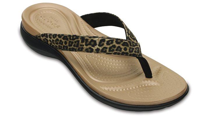 Crocs Leopard Women's Capri V Graphic Flip Shoes
