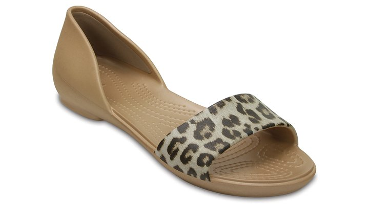 Crocs Leopard Women's Crocs Lina Graphic D'orsay Flat Shoes