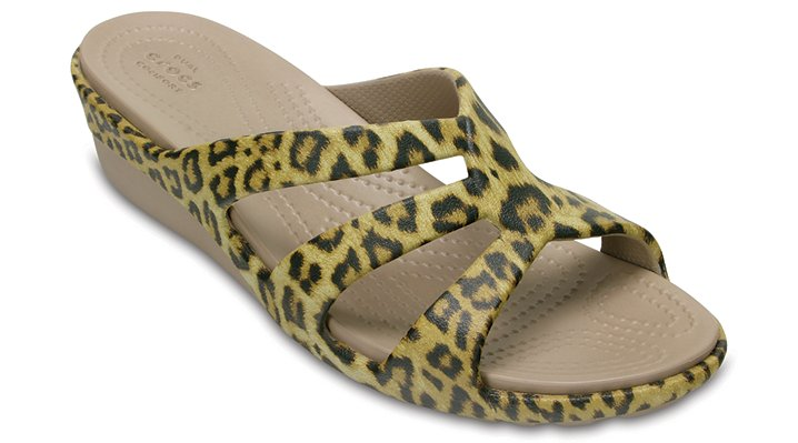 Crocs Leopard Women's Sanrah Graphic Strappy Wedge Shoes