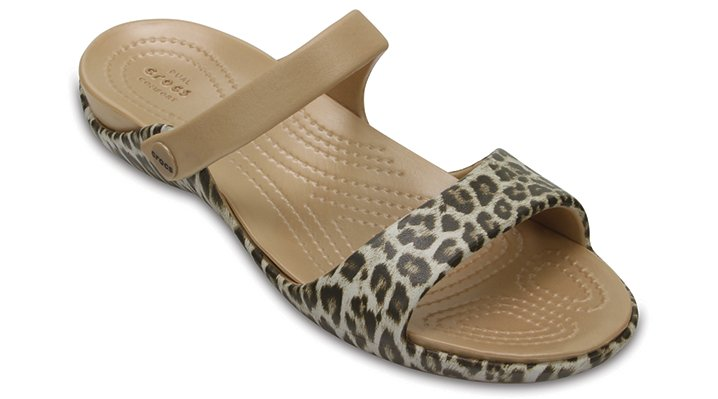 Crocs Leopard / Black Women's Cleo V Graphic Sandals Shoes