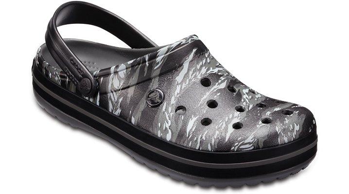 Crocs Light Grey Crocband™ Graphic Clog Shoes