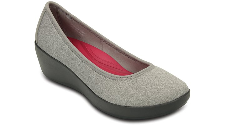 Crocs Light Grey Women's Busy Day Heathered Ballet Wedge Shoes