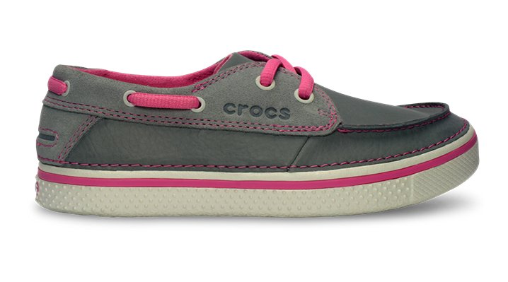 Crocs Light Grey / Pink Lemonade Kids' Hover Leather Boat Shoe Kids' Comfortable Deck Shoe