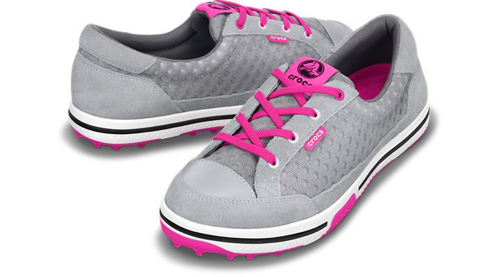 Crocs Light Grey / Vibrant Pink Women's Drayden 2.0 Golf Shoe Shoes $ 99.99
