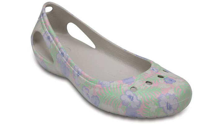 Crocs Light Pink / Floral Women's Kadee Graphic Flat Shoes