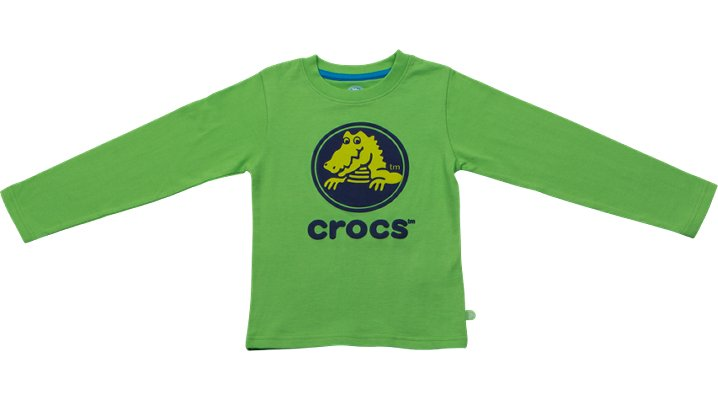 Crocs Lime / Navy Crocs Boys' Long-Sleeve Tee Shoes