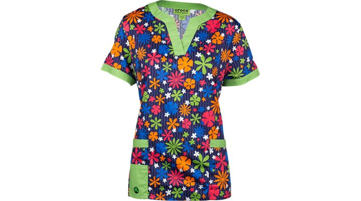 Crocs Scrubs Vickie 3-pocket Print Top