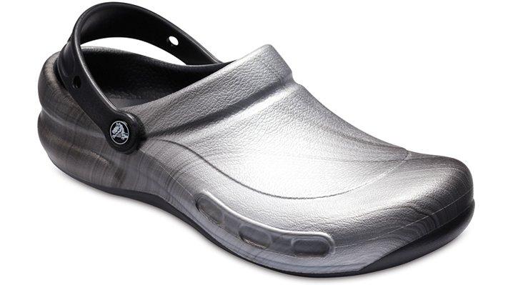 Crocs Pfd Metallic Silver Bistro Graphic Clogs Shoes