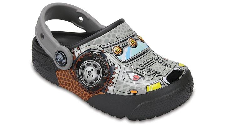 Crocs Monster Truck / Graphite Kids' Crocs Fun Lab Lights Clogs Shoes