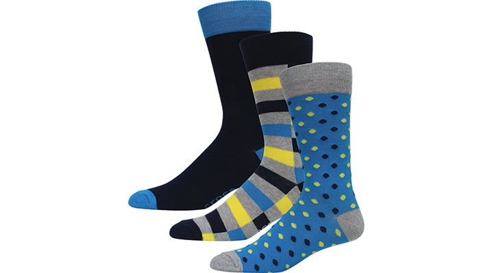 Crocs Multi-Color Blue Men'S Dress Socks 3-Pack Shoes