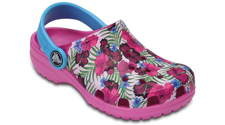 Crocs Multi-Color Pink Kids' Classic Graphic Clogs Shoes