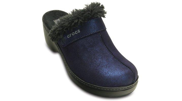 Crocs Nautical Navy / Black Women'S Crocs Cobbler Shimmer Leather Clog Shoes