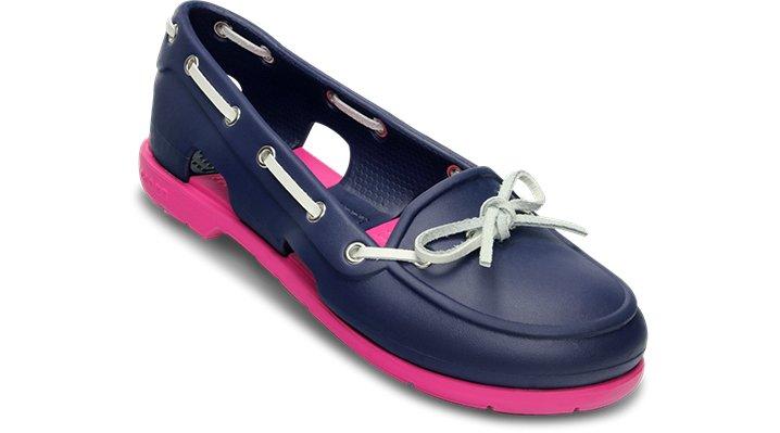 2f2635293 Crocs Nautical Navy   Fuchsia Women s Beach Line Boat Shoe Women s Boat  Shoes