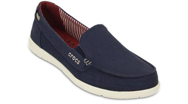Crocs Nautical Navy / Stucco Women'S Walu Canvas Loafer Shoes