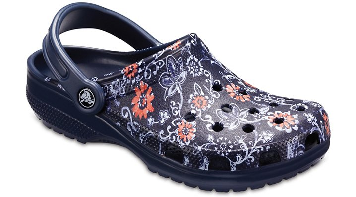 Crocs Navy Classic Graphic Clog Shoes
