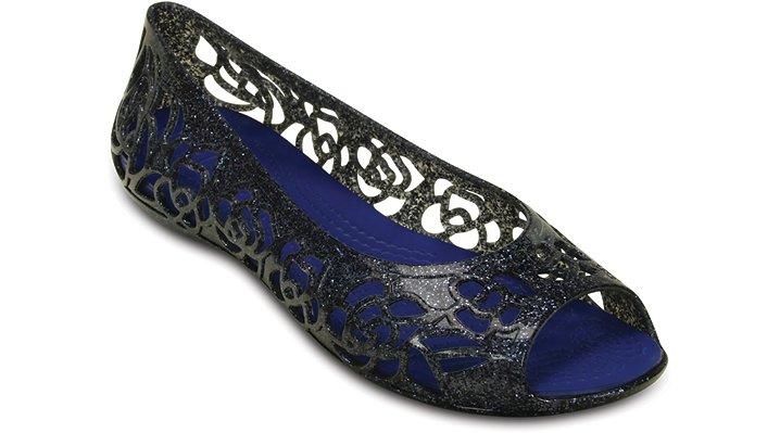 Crocs Navy / Cerulean Blue Crocs Isabella Glitter Flat (Juniors') Shoes