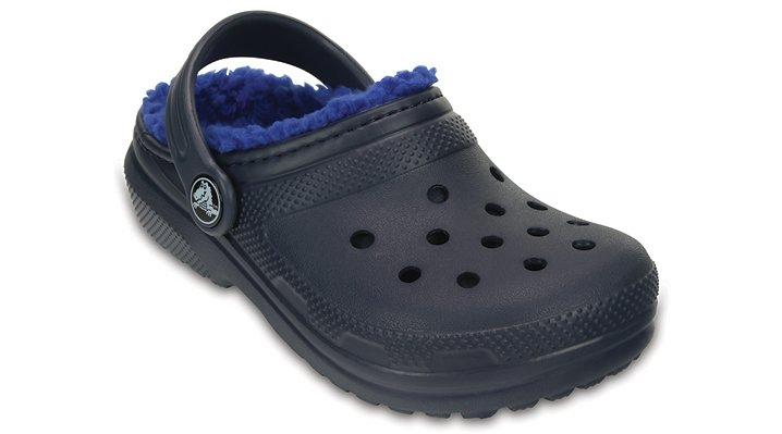 Crocs Navy / Cerulean Blue Kids' Classic Fuzz Lined Clog Shoes