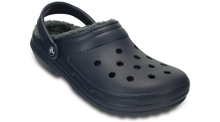 Crocs Navy / Charcoal Classic Fuzz Lined Clog Shoes