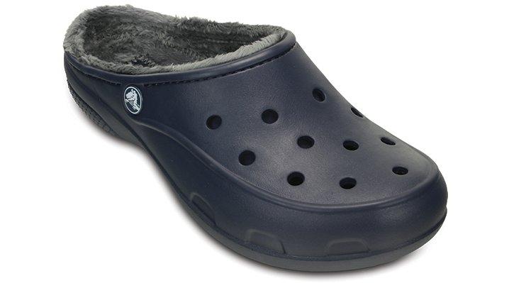 Crocs Navy / Charcoal Women's Crocs Freesail Fuzz Lined Clog Shoes