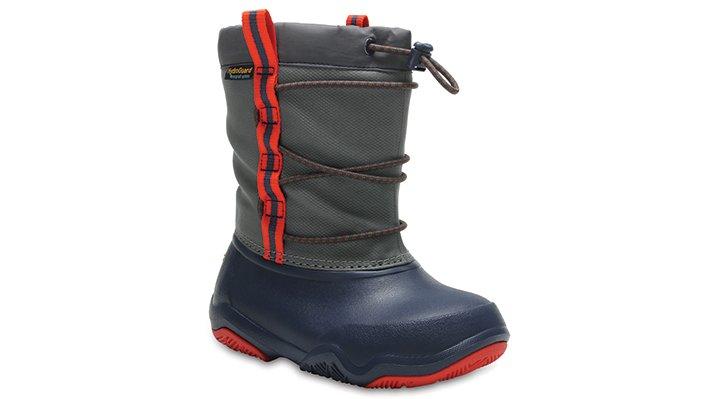 Crocs Navy / Flame Kids' Swiftwater Waterproof Boot Shoes