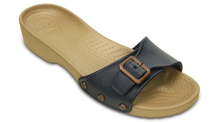 Crocs Navy / Gold Women'S Crocs Sarah Sandal Shoes