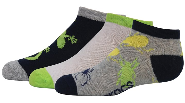 Crocs Navy / Green Boys' Low Fashion Socks 3-Pack Shoes