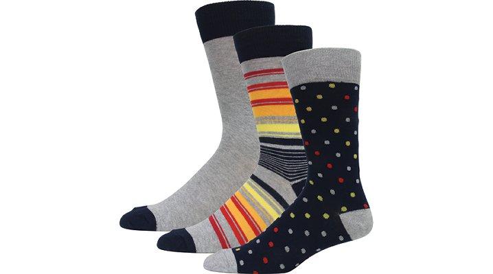 Crocs Navy / Grey Men'S Dress Socks 3-Pack Shoes