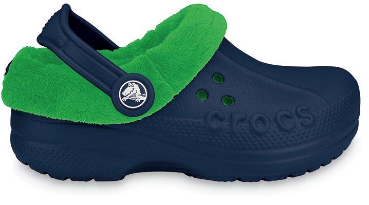 Crocs Navy / Lime Blitzen Polar Kids' Clog Comfortable Furry Clog