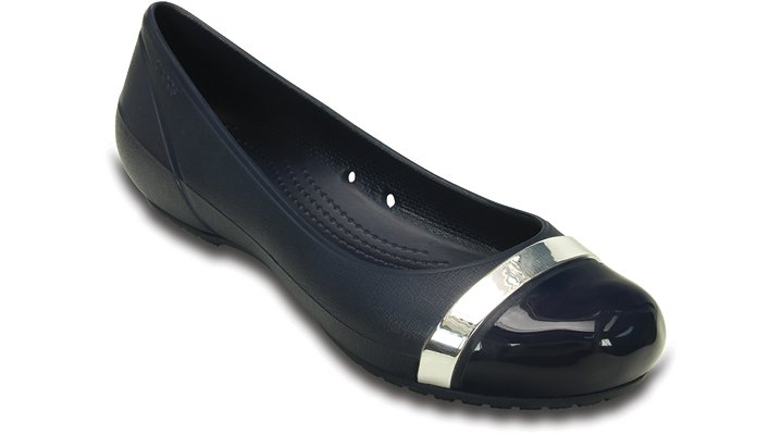 Crocs Navy / Navy Women's Cap Toe Mirror Flat Shoes