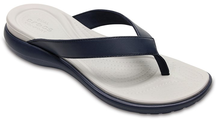 Crocs Navy / Pearl White Women'S Capri V Flip Shoes