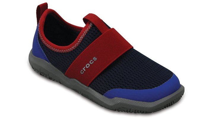 Crocs Navy / Pepper Kids' Swiftwater Easy-On Shoes Shoes