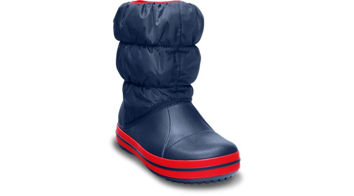 Crocs Navy / Red Kids' Winter Puff Boot Shoes